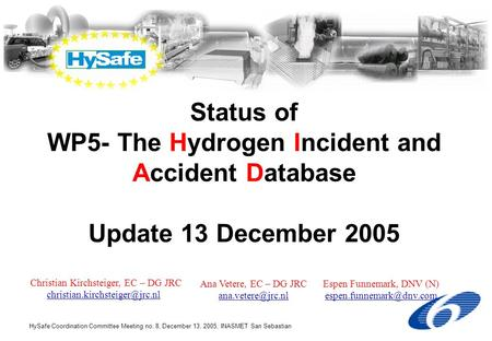 HySafe Coordination Committee Meeting no. 8, December 13, 2005, INASMET San Sebastian Status of WP5- The Hydrogen Incident and Accident Database Update.