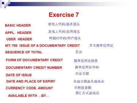 Exercise 7 BASIC HEADER 收电人代码 / 基本报头 APPL. HEADER 发电人代码 / 应用报头 USER HEADER 终端行代码 / 用户报头 MT: 700 ISSUE OF A DOCUMENTARY CREDIT 开立跟单信用证 SEQUENCE OF TOTAL.