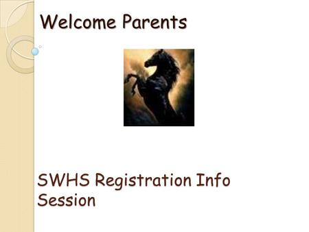 SWHS Registration Info Session Welcome Parents. Graduation Requirements Entered 9 th grade 2012-13 & current ◦ 4 English ◦ 4 Math ◦ 3 Sciences ◦ 4 Social.