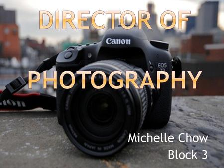 Michelle Chow Block 3. N ATURE OF W ORK A Director of Photography or a Cinematographer is in charge of: Any equipment involving lighting and cameras Number.