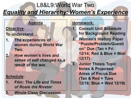 L8&L9:World War Two Equality and Hierarchy: Women's Experience Agenda Objective: To understand… 1.The experiences of women during World War Two. 2.How.