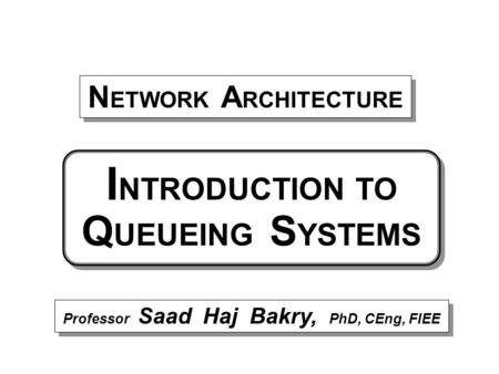 Professor Saad Haj Bakry, PhD, CEng, FIEE N ETWORK A RCHITECTURE I NTRODUCTION TO Q UEUEING S YSTEMS.