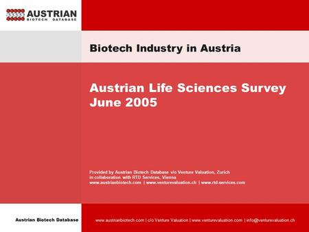 Austrian Biotech Database  | c/o Venture Valuation |  | Biotech Industry in Austria.