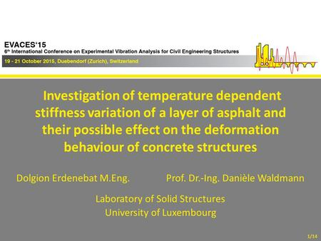 EVACES'15, Dübendorf (Zurich), Switzerland, October 19-21, 2015 Investigation of temperature dependent stiffness variation of a layer of asphalt and their.