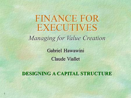 1 FINANCE FOR EXECUTIVES Managing for Value Creation FINANCE FOR EXECUTIVES Managing for Value Creation Gabriel Hawawini Claude Viallet Gabriel Hawawini.