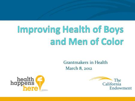 Grantmakers in Health March 8, 2012. Core Principles Boys Need Positive Connections to Adults Generally, and Men Specifically Boys and Young Men of Color.