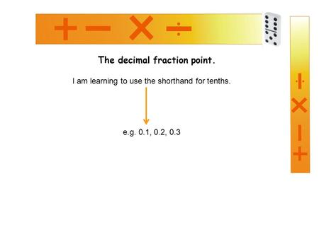 The decimal fraction point. I am learning to use the shorthand for tenths. e.g. 0.1, 0.2, 0.3.
