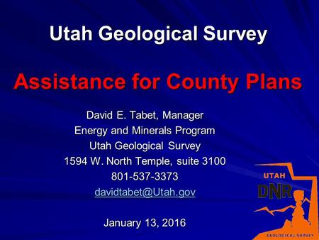 Utah Geological Survey Assistance for County Plans