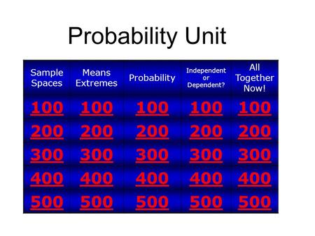 Probability Unit Sample Spaces Means Extremes Probability Independent or Dependent? All Together Now! 100 200 300 400 500.