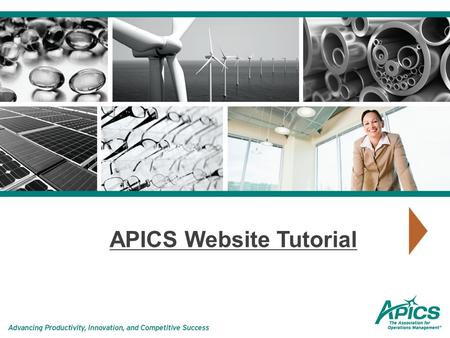 APICS Website Tutorial. Searching is easy with the new search function, which appears on every page. Shop APICS is accessible from here and is linked.