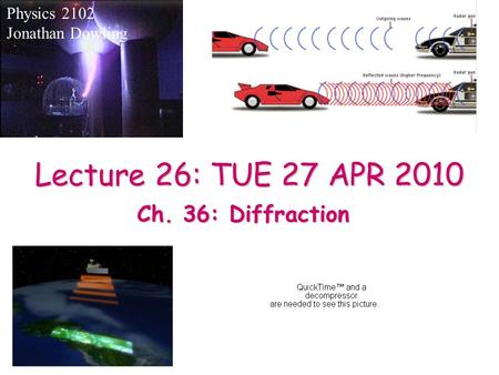 Lecture 26: TUE 27 APR 2010 Physics 2102 Jonathan Dowling Ch. 36: Diffraction.