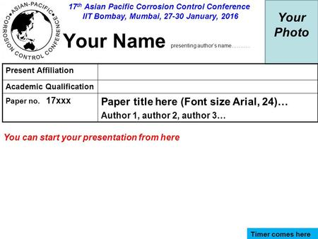 Your Photo Your Name presenting author's name……….. Present Affiliation Academic Qualification Paper no. 17xxx Paper title here (Font size Arial, 24)… Author.
