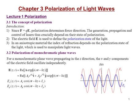 Chapter 3 Polarization of Light Waves