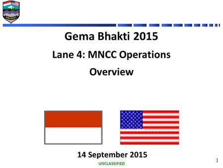 UNCLASSIFIED 1 Gema Bhakti 2015 Lane 4: MNCC Operations Overview 14 September 2015 14 September 2015.