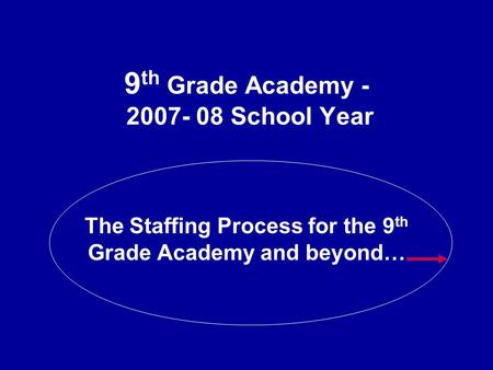 9 th Grade Academy - 2007- 08 School Year The Staffing Process for the 9 th Grade Academy and beyond…