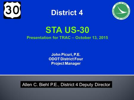 STA US-30 Presentation for TRAC – October 13, 2015