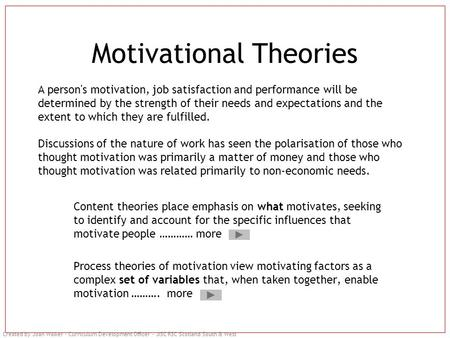 Created by Joan Walker – Curriculum Development Officer – JISC RSC Scotland South & West Motivational Theories Content theories place emphasis on what.