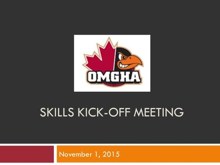 SKILLS KICK-OFF MEETING November 1, 2015. Agenda Skill Development Team On-Ice Professional Instructors Dry-Land Instructors Positive Coach Alliance Give-A-Ways.