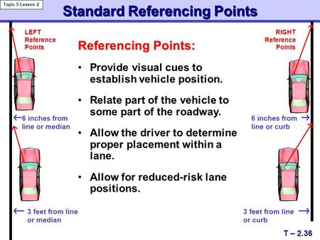 Standard Referencing Points Referencing Points: Provide visual cues to establish vehicle position. Relate part of the vehicle to some part of the roadway.