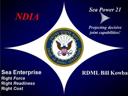 Sea Enterprise Right Force Right Readiness Right Cost RDML Bill Kowba Projecting decisive joint capabilities! Sea Power 21 NDIA.