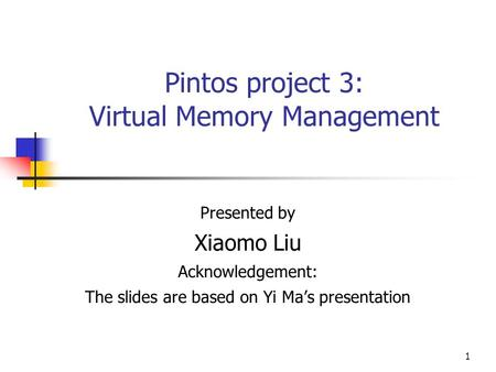 Pintos project 3: Virtual Memory Management