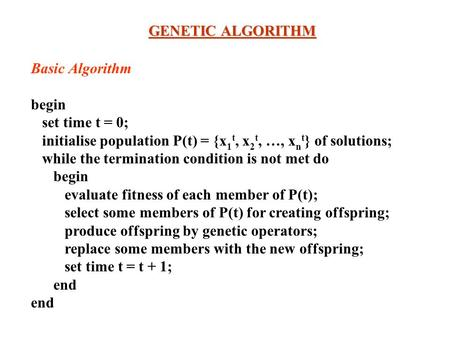 GENETIC ALGORITHM Basic Algorithm begin set time t = 0;