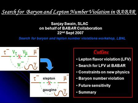 Sanjay Swain, SLAC on behalf of BABAR Collaboration 22 nd Sept 2007 Outline Lepton flavor violation (LFV) Search for LFV at BABAR Constraints on new physics.