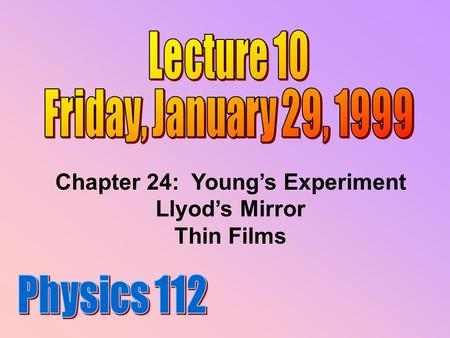 Chapter 24: Young's Experiment Llyod's Mirror Thin Films.