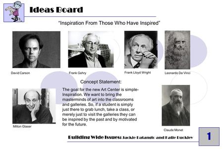 "1 Ideas Board 1 Frank Lloyd Wright Frank GehryDavid Carson Milton Glaser Leonardo Da Vinci Claude Monet ""Inspiration From Those Who Have Inspired"" Building."