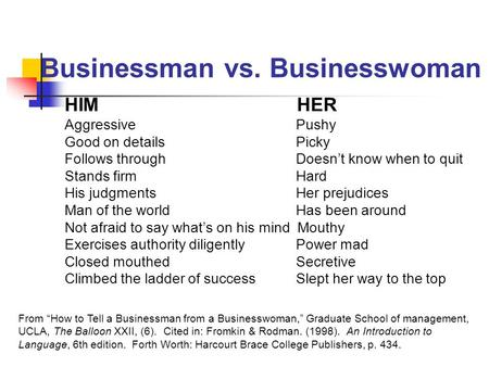 Businessman vs. Businesswoman HIM HER Aggressive Pushy Good on details Picky Follows through Doesn't know when to quit Stands firm Hard His judgments Her.