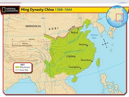 Section 4 Vocabulary Zhu Yuanzhang – became emperor of the Ming dynasty after the Mongols were driven out of China Nanjing– capital during the Ming dynasty.