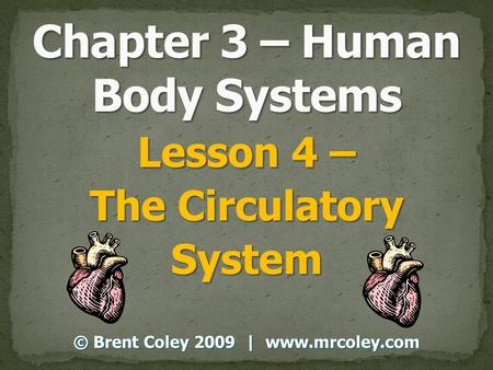 Lesson 4 – The Circulatory System © Brent Coley 2009 | www.mrcoley.com.