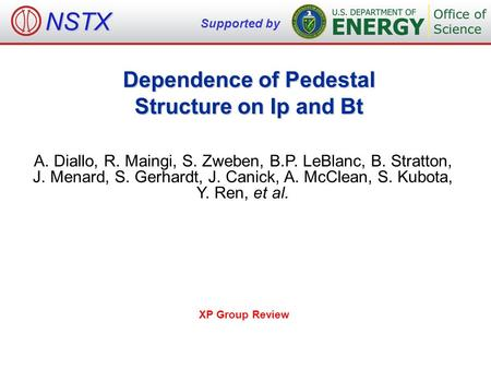 Dependence of Pedestal Structure on Ip and Bt A. Diallo, R. Maingi, S. Zweben, B.P. LeBlanc, B. Stratton, J. Menard, S. Gerhardt, J. Canick, A. McClean,