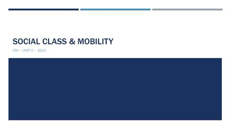 SOCIAL CLASS & MOBILITY CSI – UNIT 5 – 2015. DEFINING SOCIAL CLASS  Division of society based on economic & social status  Individuals & groups classified.