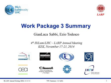HL-LHC Annual Meeting, KEK, 11/21/14WP3 Summary – G. Sabbi 1 Work Package 3 Summary GianLuca Sabbi, Ezio Todesco 4 th HiLumi LHC – LARP Annual Meeting.