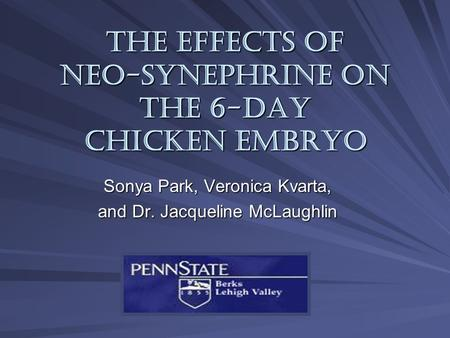 The Effects of Neo-synephrine on the 6-Day Chicken Embryo Sonya Park, Veronica Kvarta, and Dr. Jacqueline McLaughlin.