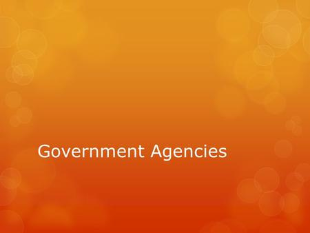 Government Agencies. World Health Organization  Sponsored by United Nations  Investigates serious diseases & health issues across the world.