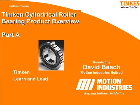 Timken Cylindrical Roller Bearing Product Overview Part A