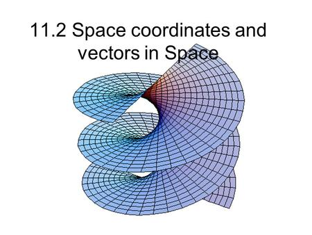 11.2 Space coordinates and vectors in Space. 3 dimensional coordinate plane.