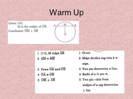 Warm Up. Indirect Proof Chapter 5.1 Objective- Write Indirect Proofs.