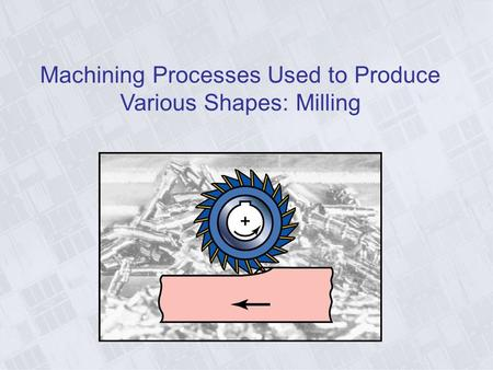 Machining Processes Used to Produce Various Shapes: Milling.