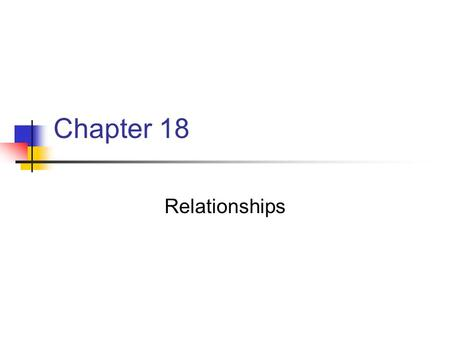 Chapter 18 Relationships. Chapter 18 Key Points Refers to with whom or with what the body moves Entails three components: 1. Relationships of body parts.