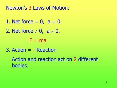 Newton's 3 Laws of Motion: