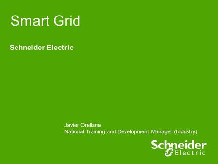 Smart Grid Schneider Electric Javier Orellana National Training and Development Manager (Industry)