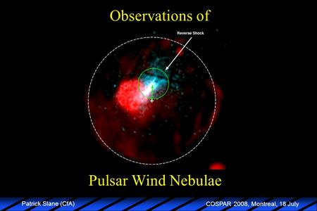 COSPAR 2008, Montreal, 18 July Patrick Slane (CfA) Pulsar Wind Nebulae Observations of.