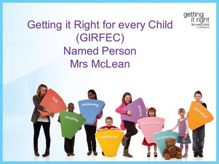 Getting it Right for every Child (GIRFEC) Named Person Mrs McLean.