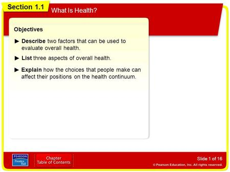 Section 1.1 What Is Health? Slide 1 of 16 Objectives Describe two factors that can be used to evaluate overall health. List three aspects of overall health.