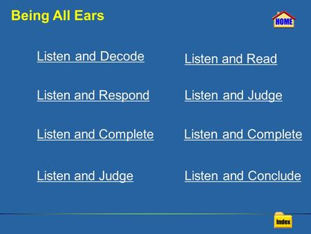 Being All Ears Listen and Decode Listen and Respond Listen and Complete Listen and Read Listen and Judge Listen and Complete Listen and Judge Listen and.