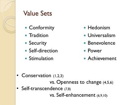 Value Sets Conformity Tradition Security Self-direction Stimulation Hedonism Universalism Benevolence Power Achievement Conservation (1,2,3) vs. Openness.