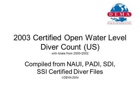 2003 Certified Open Water Level Diver Count (US) with totals from 2000-2002 Compiled from NAUI, PADI, SDI, SSI Certified Diver Files © DEMA 2004.
